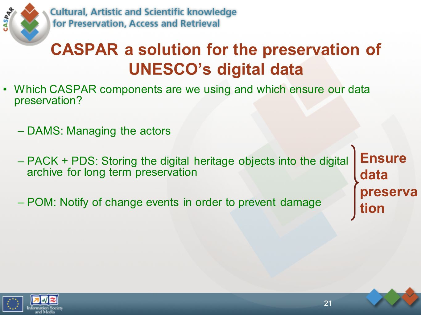 21 CASPAR a solution for the preservation of UNESCOs digital data Which CASPAR components are we using and which ensure our data preservation.
