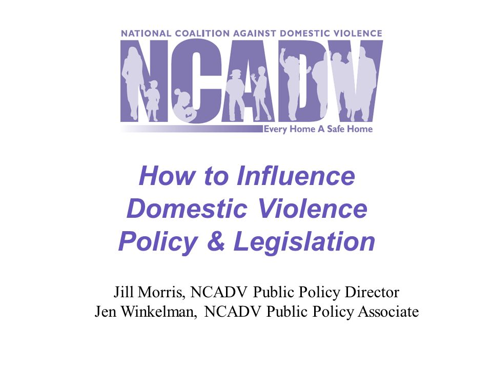 How to Influence Domestic Violence Policy & Legislation Jill Morris, NCADV Public Policy Director Jen Winkelman, NCADV Public Policy Associate