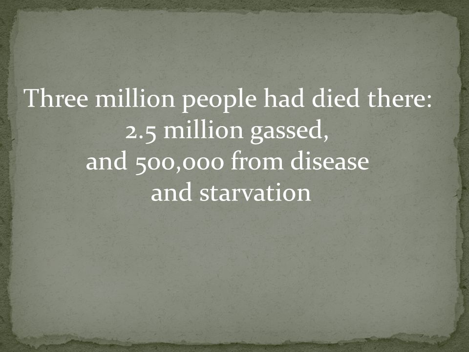 Three million people had died there: 2.5 million gassed, and 500,000 from disease and starvation