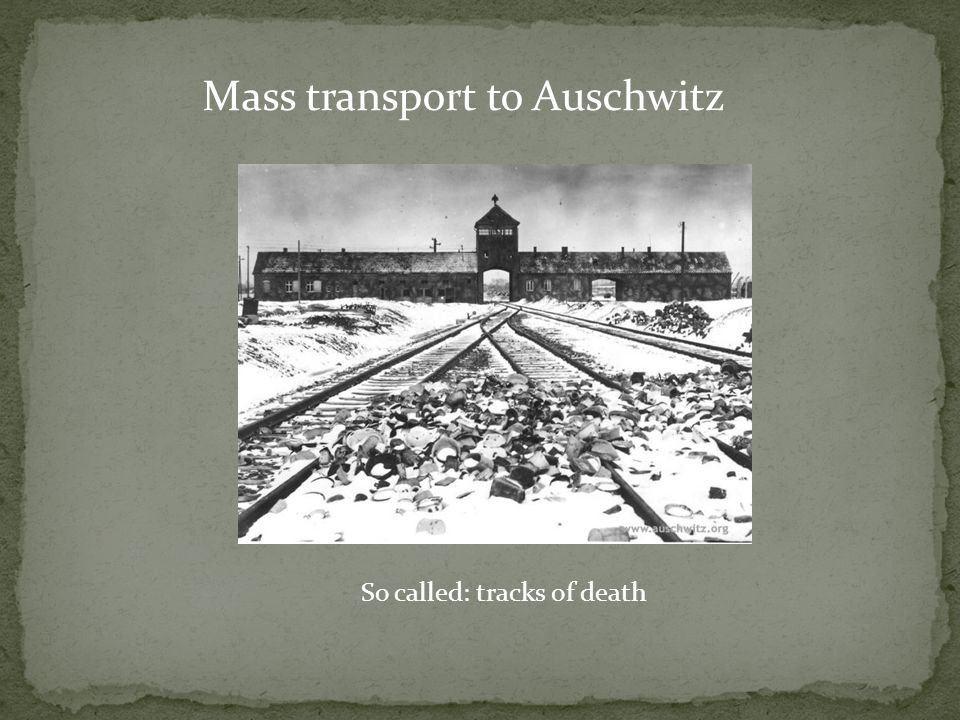 Mass transport to Auschwitz So called: tracks of death