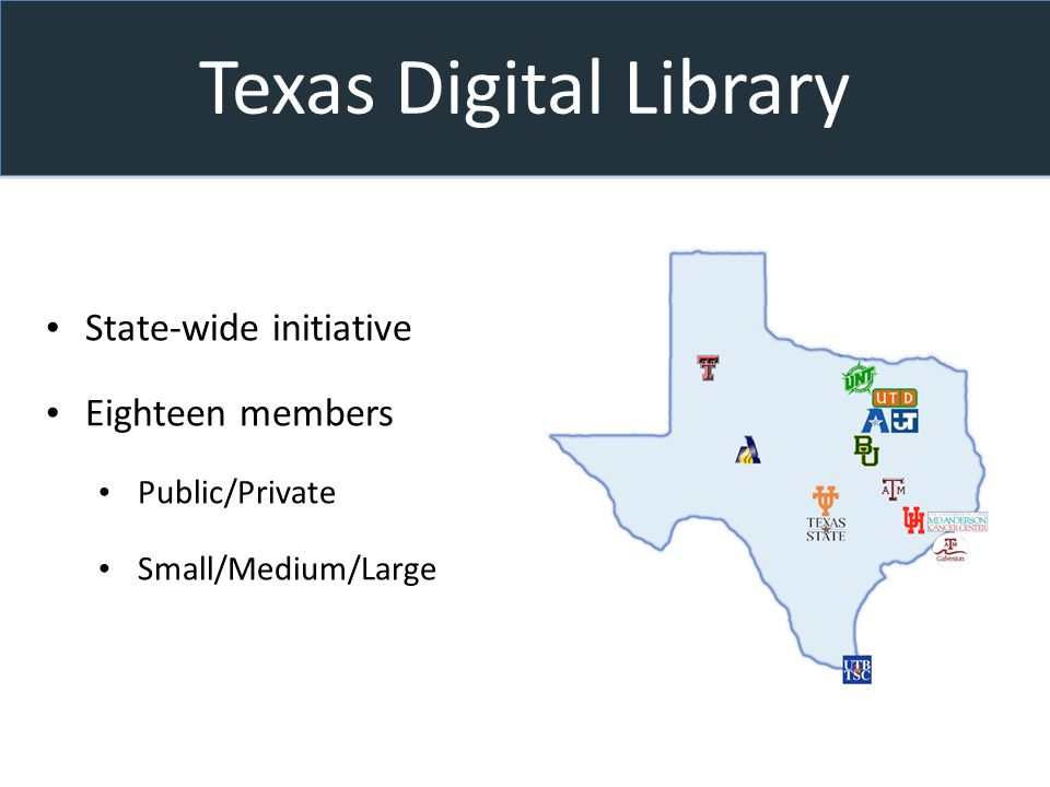 Texas Digital Library State-wide initiative Eighteen members Public/Private Small/Medium/Large