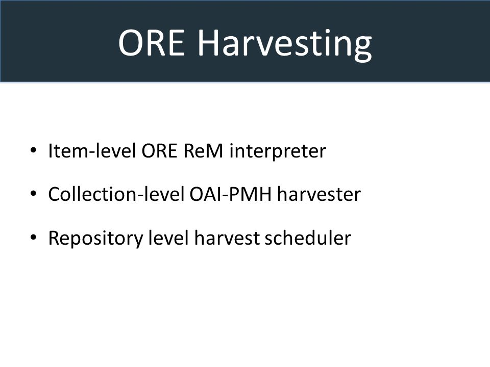 ORE Harvesting Item-level ORE ReM interpreter Collection-level OAI-PMH harvester Repository level harvest scheduler
