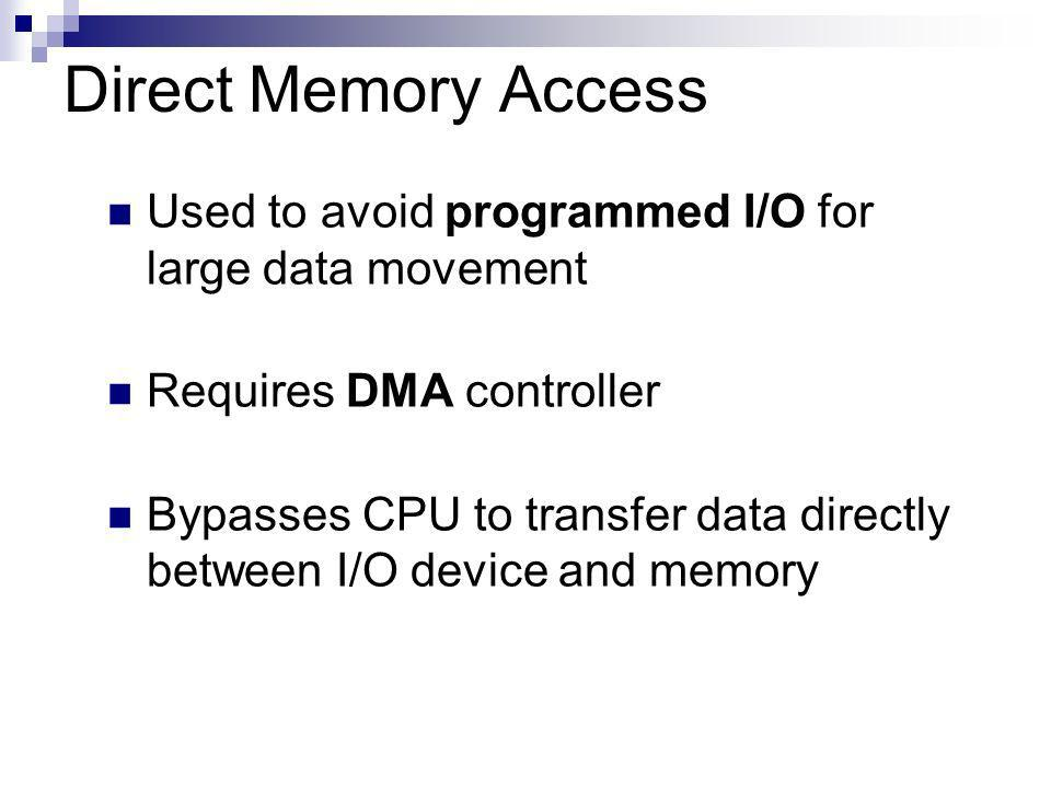 Direct Memory Access Used to avoid programmed I/O for large data movement Requires DMA controller Bypasses CPU to transfer data directly between I/O device and memory