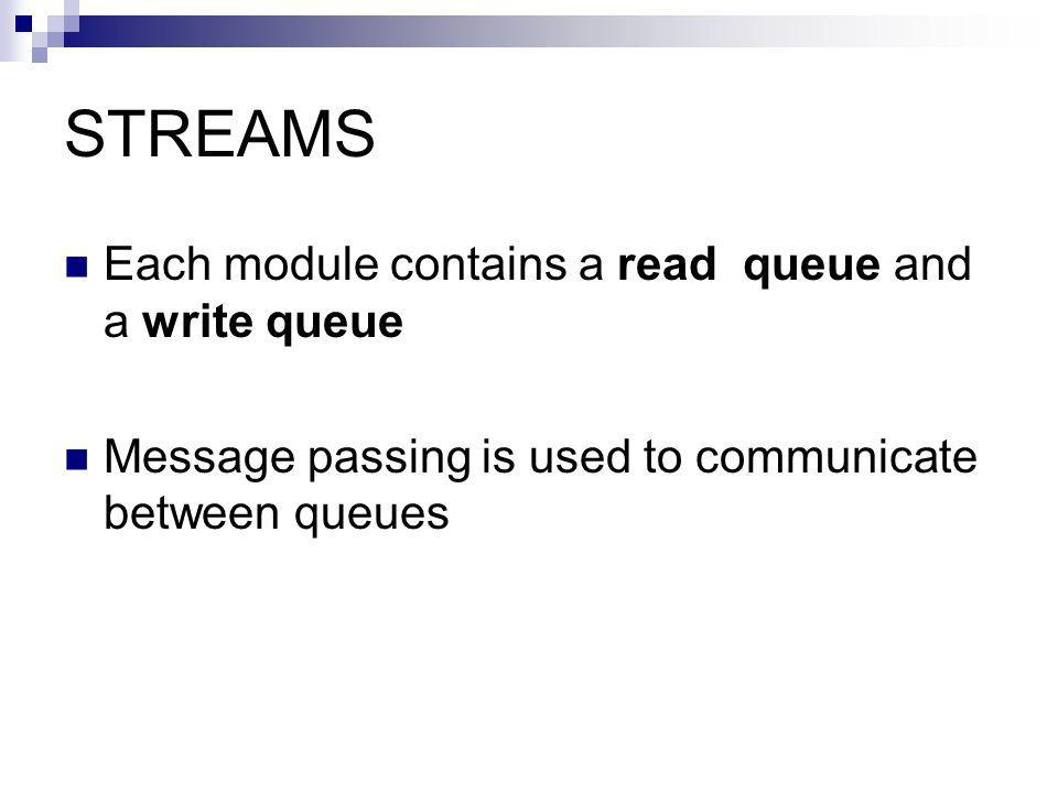 STREAMS Each module contains a read queue and a write queue Message passing is used to communicate between queues