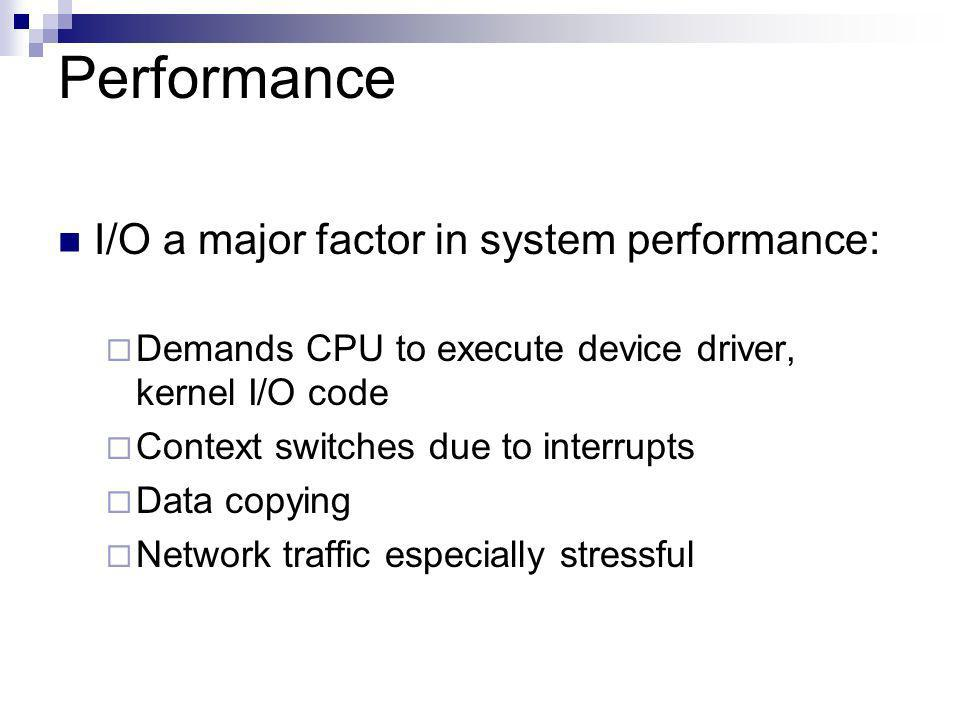 Performance I/O a major factor in system performance: Demands CPU to execute device driver, kernel I/O code Context switches due to interrupts Data copying Network traffic especially stressful