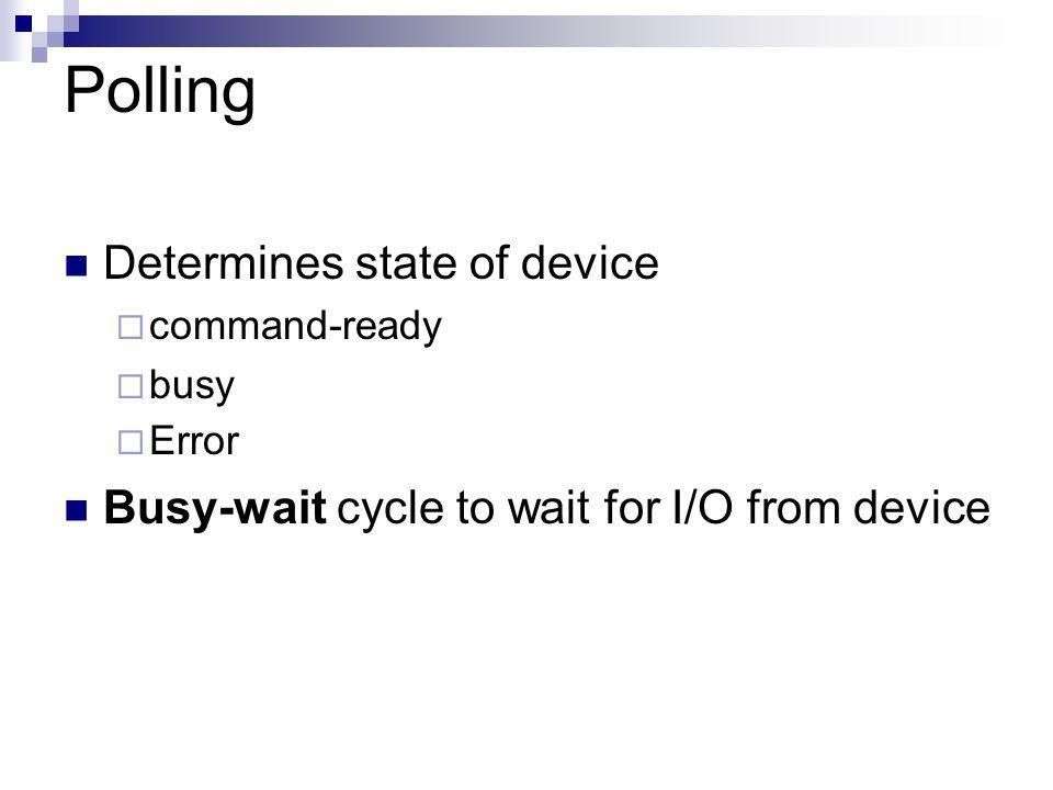 Polling Determines state of device command-ready busy Error Busy-wait cycle to wait for I/O from device