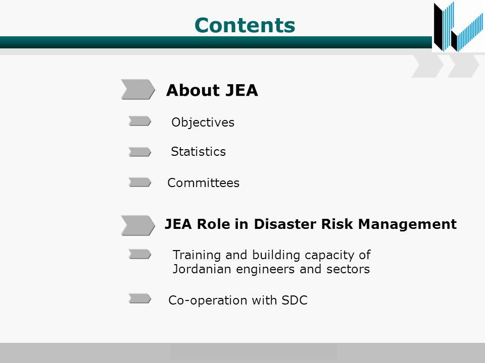 Contents About JEA JEA Role in Disaster Risk Management Objectives Statistics Committees Training and building capacity of Jordanian engineers and sectors Co-operation with SDC
