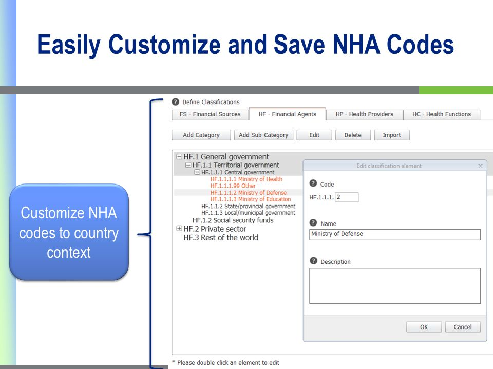 Easily Customize and Save NHA Codes Customize NHA codes to country context