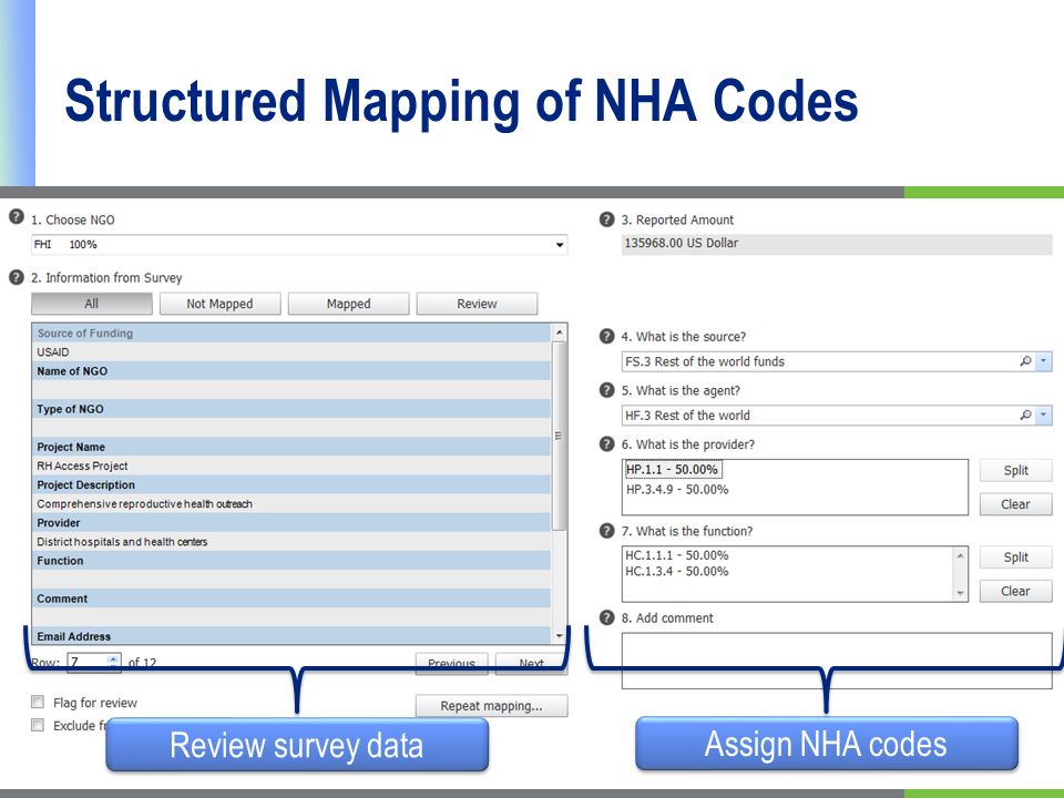 Structured Mapping of NHA Codes Review survey data Assign NHA codes