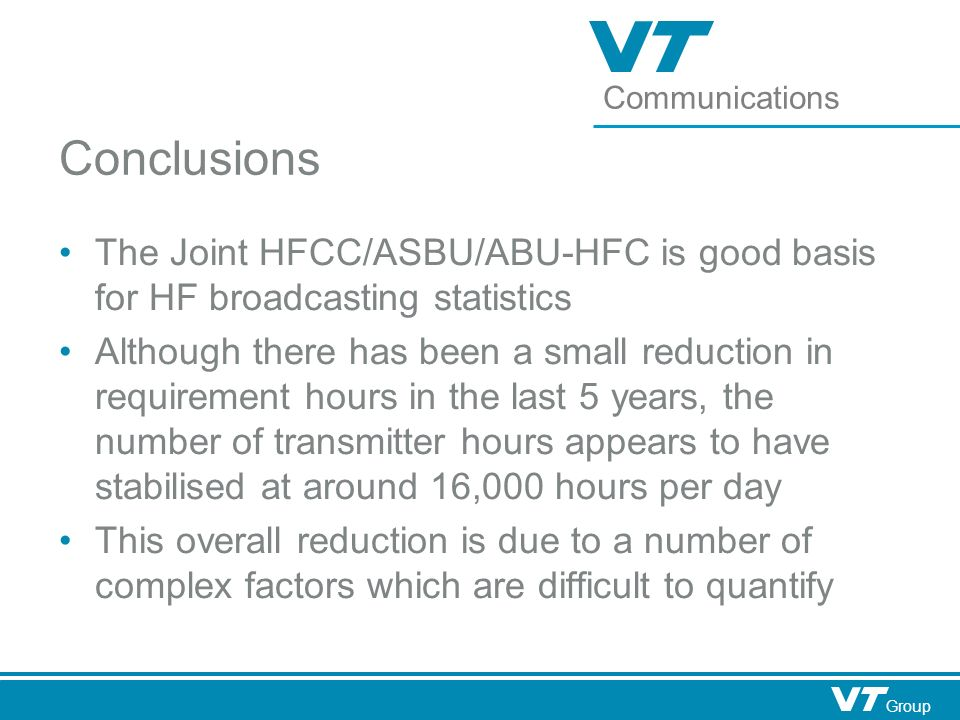 Communications Group Conclusions The Joint HFCC/ASBU/ABU-HFC is good basis for HF broadcasting statistics Although there has been a small reduction in requirement hours in the last 5 years, the number of transmitter hours appears to have stabilised at around 16,000 hours per day This overall reduction is due to a number of complex factors which are difficult to quantify