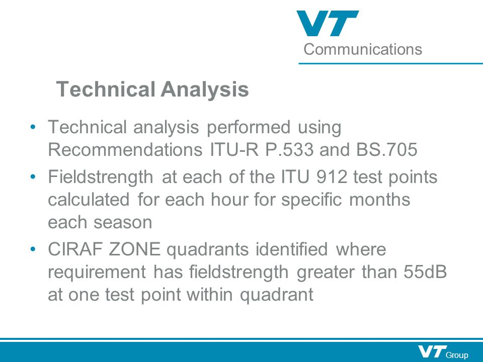 Communications Group Technical Analysis Technical analysis performed using Recommendations ITU-R P.533 and BS.705 Fieldstrength at each of the ITU 912 test points calculated for each hour for specific months each season CIRAF ZONE quadrants identified where requirement has fieldstrength greater than 55dB at one test point within quadrant