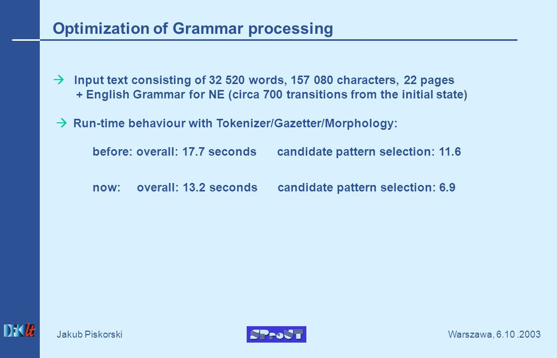 Warszawa, Jakub Piskorski Optimization of Grammar processing Input text consisting of words, characters, 22 pages + English Grammar for NE (circa 700 transitions from the initial state) Run-time behaviour with Tokenizer/Gazetter/Morphology: before: overall: 17.7 seconds candidate pattern selection: 11.6 now: overall: 13.2 seconds candidate pattern selection: 6.9