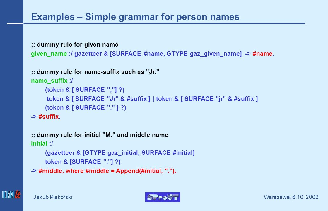Warszawa, Jakub Piskorski Examples – Simple grammar for person names ;; dummy rule for given name given_name :/ gazetteer & [SURFACE #name, GTYPE gaz_given_name] -> #name.