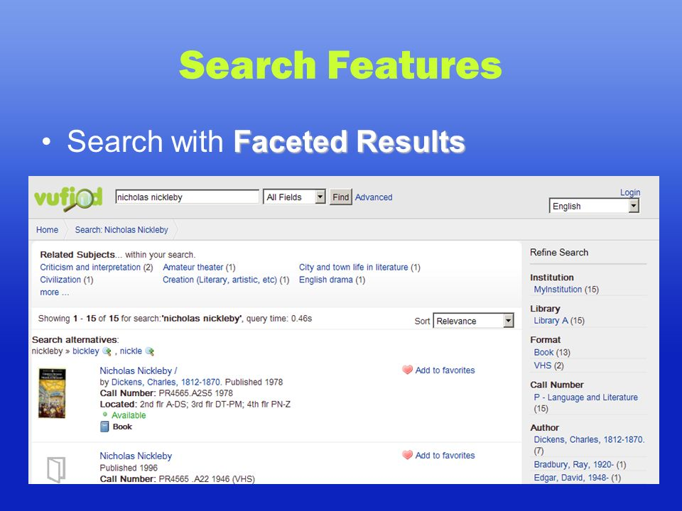 Search Features Faceted ResultsSearch with Faceted Results
