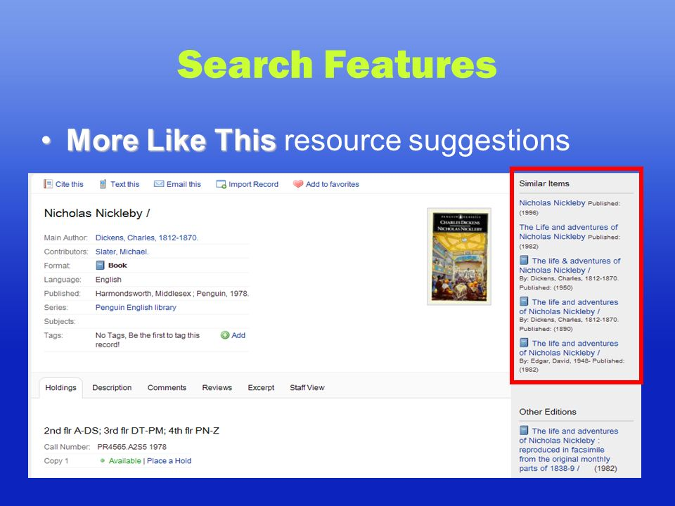 Search Features More Like ThisMore Like This resource suggestions