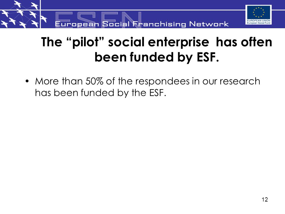 12 The pilot social enterprise has often been funded by ESF.