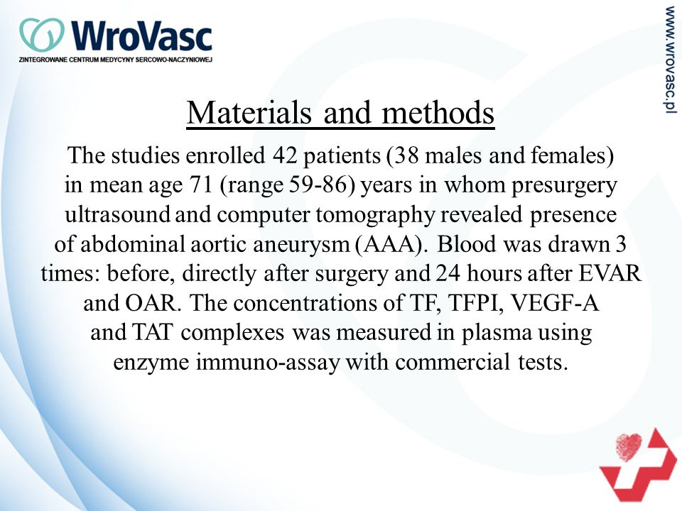 Materials and methods The studies enrolled 42 patients (38 males and females) in mean age 71 (range 59-86) years in whom presurgery ultrasound and computer tomography revealed presence of abdominal aortic aneurysm (AAA).