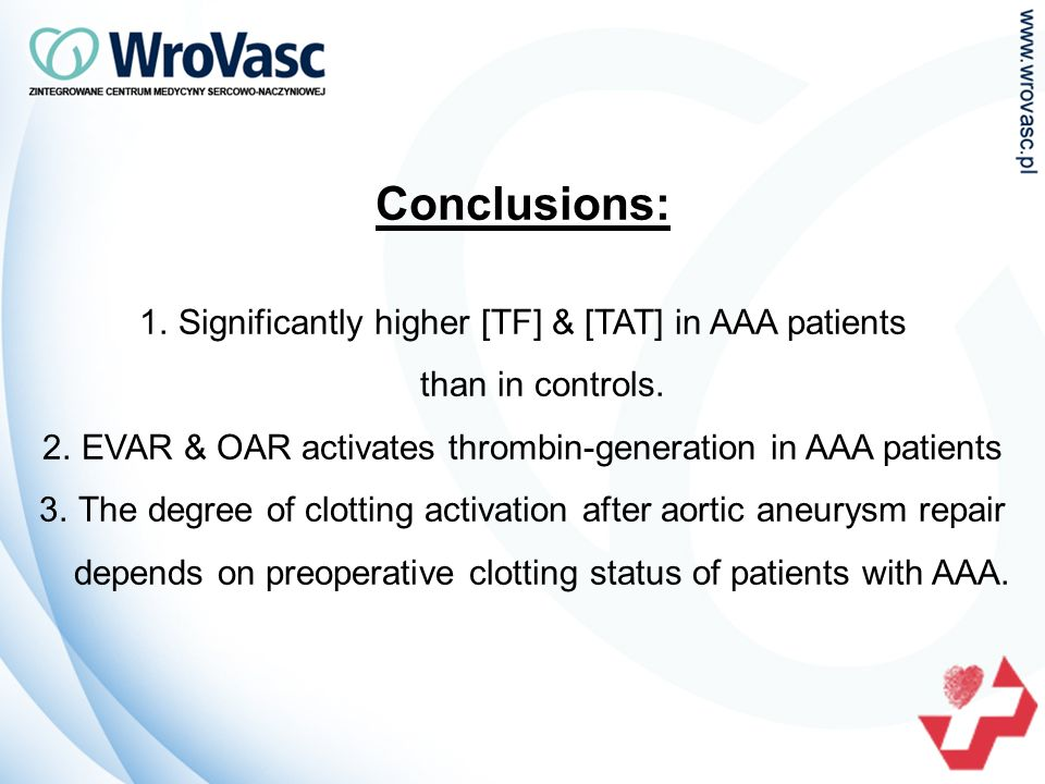 Conclusions: 1.Significantly higher [TF] & [TAT] in AAA patients than in controls.