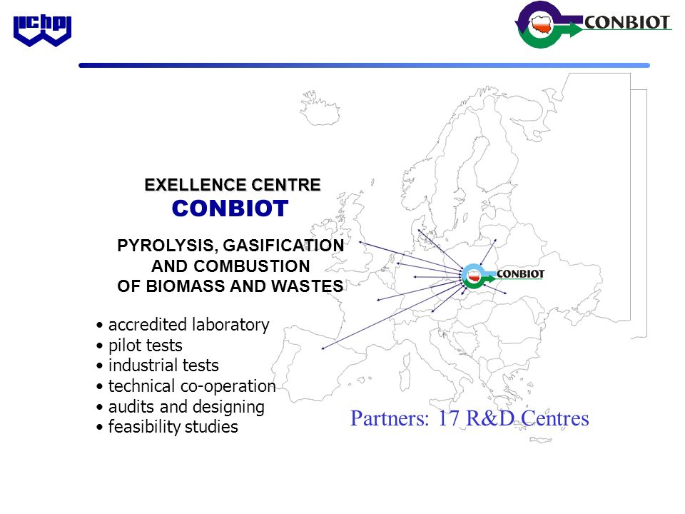 PYROLYSIS, GASIFICATION AND COMBUSTION OF BIOMASS AND WASTES EXELLENCE CENTRE EXELLENCE CENTRE CONBIOT accredited laboratory pilot tests industrial tests technical co-operation audits and designing feasibility studies Partners: 17 R&D Centres