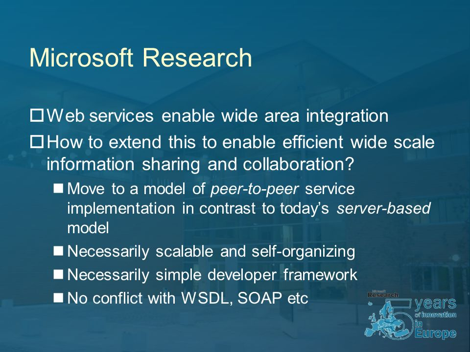 Microsoft Research Web services enable wide area integration How to extend this to enable efficient wide scale information sharing and collaboration.