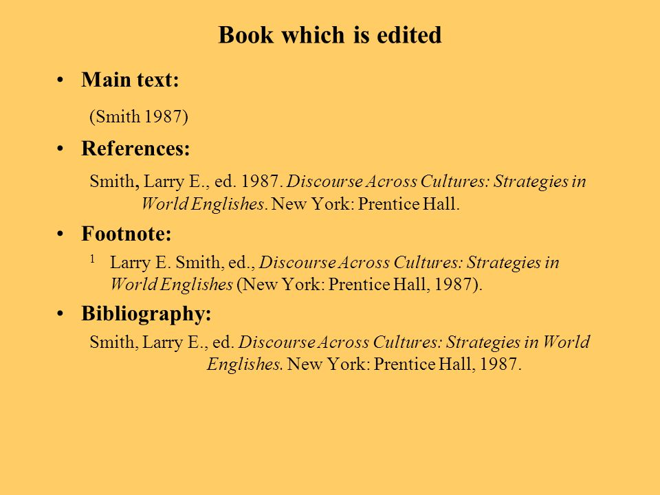 Book which is edited Main text: (Smith 1987) References: Smith, Larry E., ed.