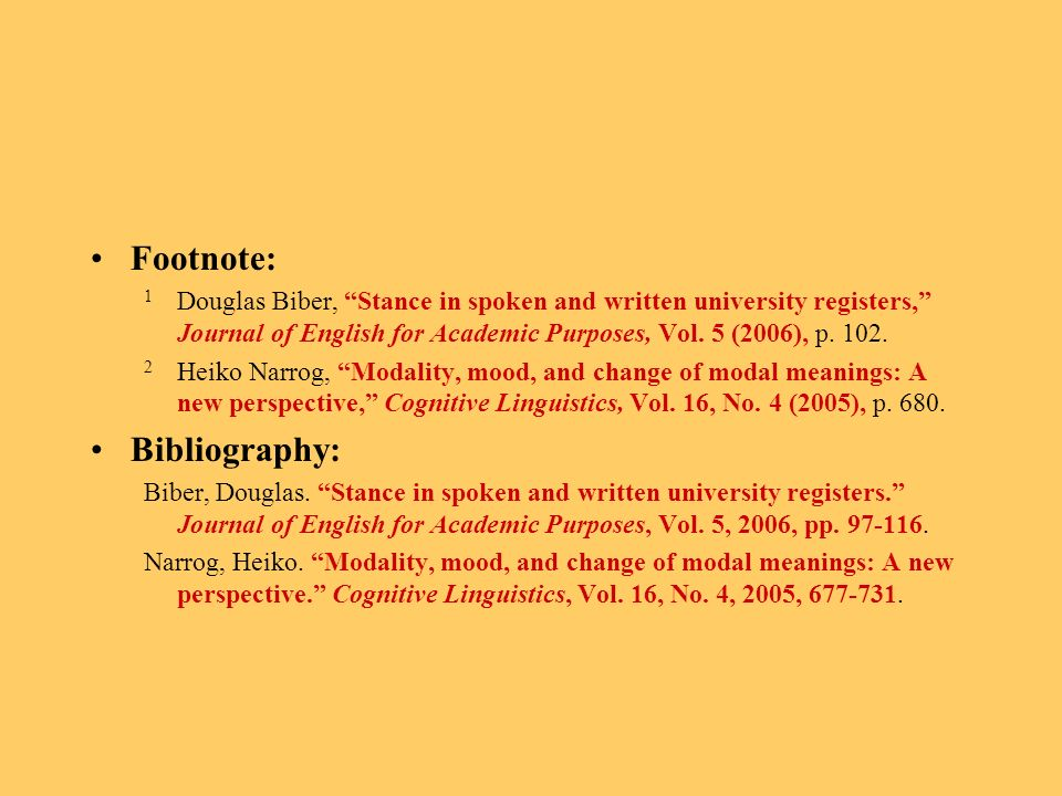 Footnote: 1 Douglas Biber, Stance in spoken and written university registers, Journal of English for Academic Purposes, Vol.
