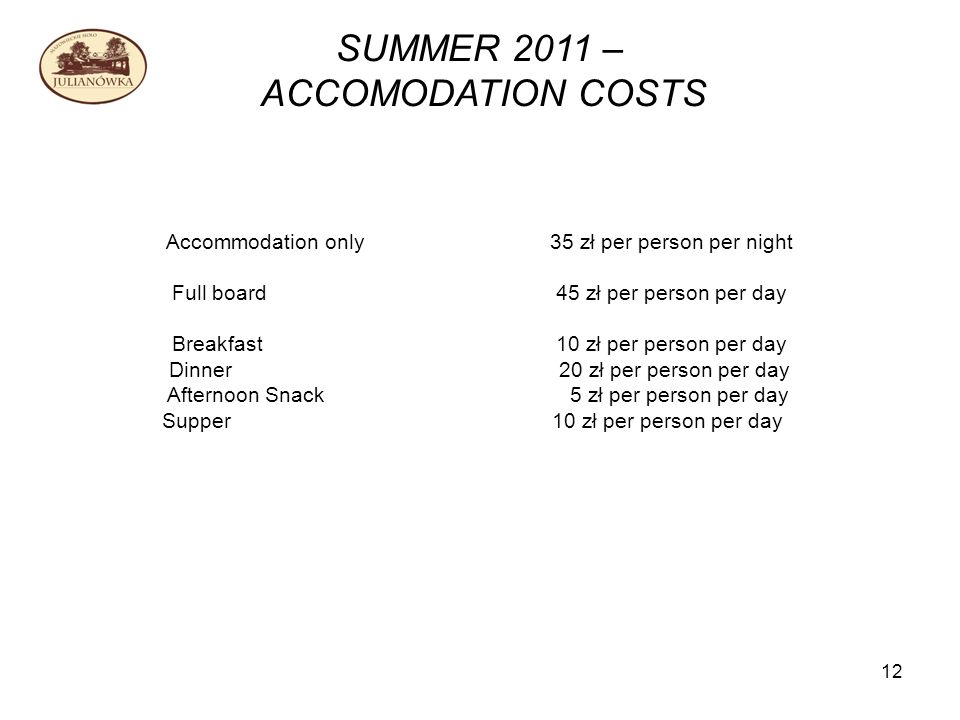 12 SUMMER 2011 – ACCOMODATION COSTS Accommodation only35 zł per person per night Full board45 zł per person per day Breakfast 10 zł per person per day Dinner 20 zł per person per day Afternoon Snack 5 zł per person per day Supper 10 zł per person per day