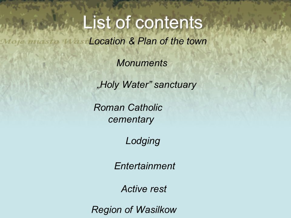 Location & Plan of the town Monuments Holy Water sanctuary Roman Catholic cementary Lodging Entertainment Active rest Region of Wasilkow
