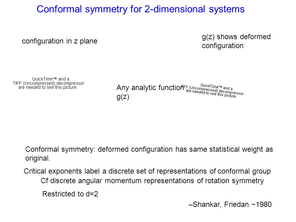Conformal symmetry for 2-dimensional systems configuration in z plane g(z) shows deformed configuration Any analytic function g(z) Conformal symmetry: deformed configuration has same statistical weight as original.
