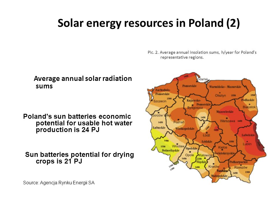 Solar energy resources in Poland (2) Average annual solar radiation sums Poland s sun batteries economic potential for usable hot water production is 24 PJ Sun batteries potential for drying crops is 21 PJ Source: Agencja Rynku Energii SA Pic.