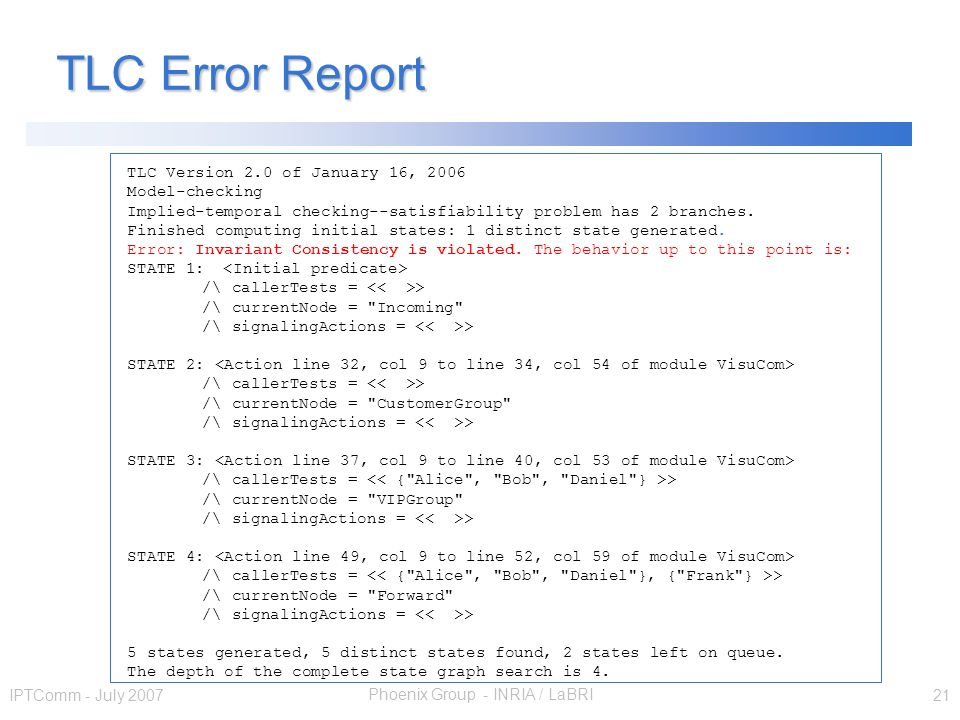 Phoenix Group - INRIA / LaBRI IPTComm - July 2007 21 TLC Error Report TLC Version 2.0 of January 16, 2006 Model-checking Implied-temporal checking--satisfiability problem has 2 branches.