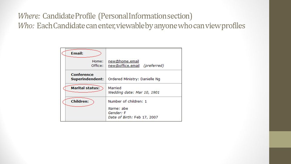 Where: Candidate Profile (Personal Information section) Who: Each Candidate can enter, viewable by anyone who can view profiles