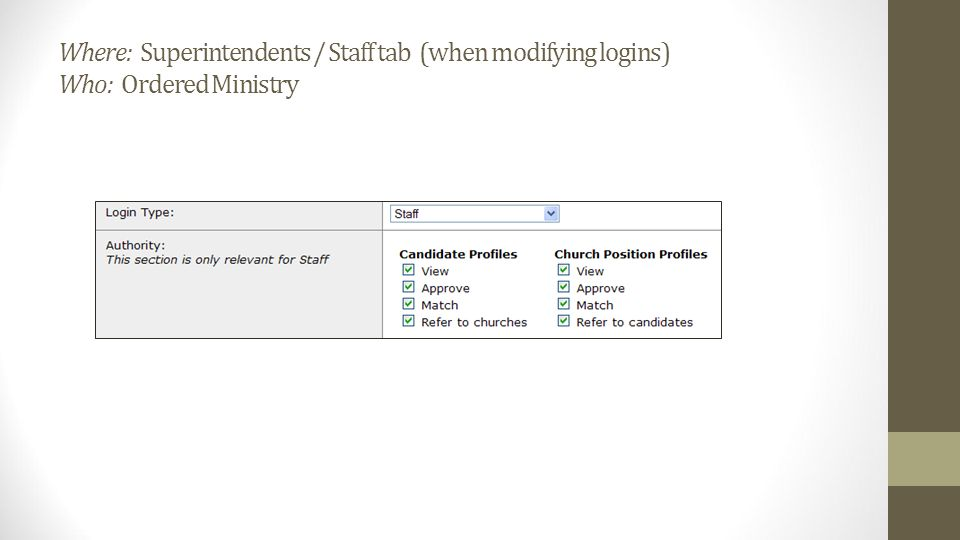 Where: Superintendents / Staff tab (when modifying logins) Who: Ordered Ministry