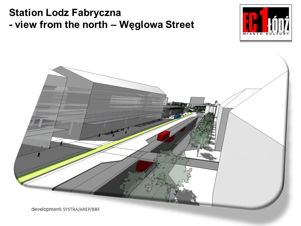 Station Lodz Fabryczna - view from the north – Węglowa Street development : SYSTRA/AREP/BBF