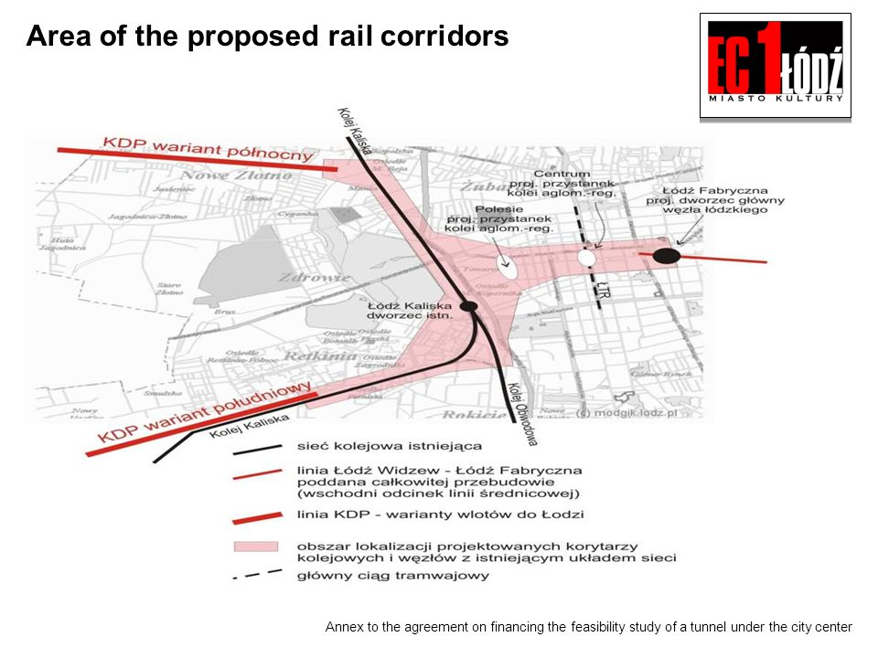 Annex to the agreement on financing the feasibility study of a tunnel under the city center Area of the proposed rail corridors