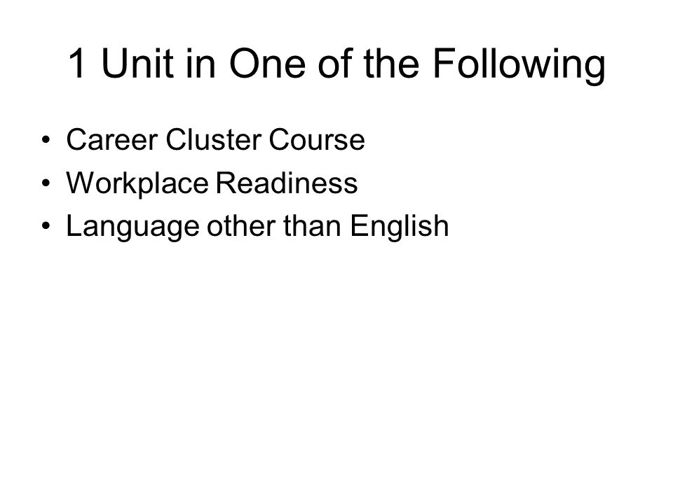 1 Unit in One of the Following Career Cluster Course Workplace Readiness Language other than English