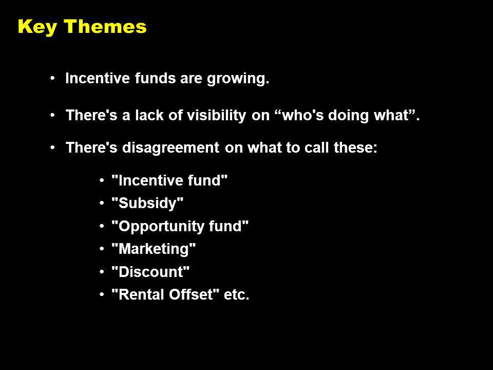 Key Themes Incentive funds are growing. There s a lack of visibility on who s doing what.
