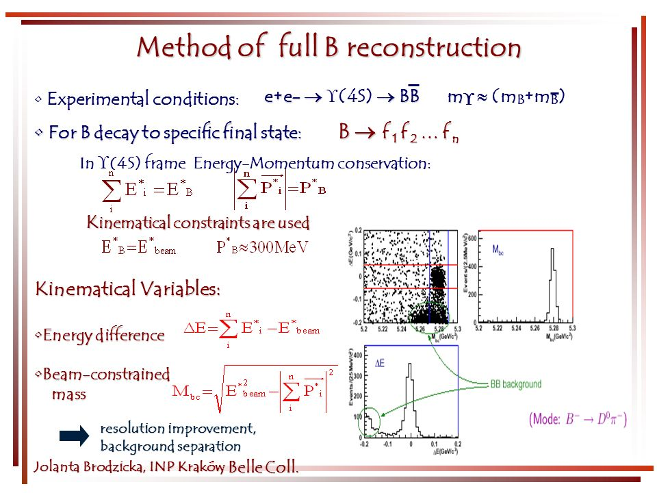 Kinematical Variables: Energy differenceEnergy difference Beam-constrainedBeam-constrained mass mass Jolanta Brodzicka, INP Kraków K inematical constraints are used For B decay to specific final state: B f 1 f 2 … f n For B decay to specific final state: B f 1 f 2 … f n Experimental conditions: Method of full B reconstruction e+e- BB m e+e- (4S) BB m (m B +m B ) In (4S) frame Energy-Momentum conservation :, Belle Coll.