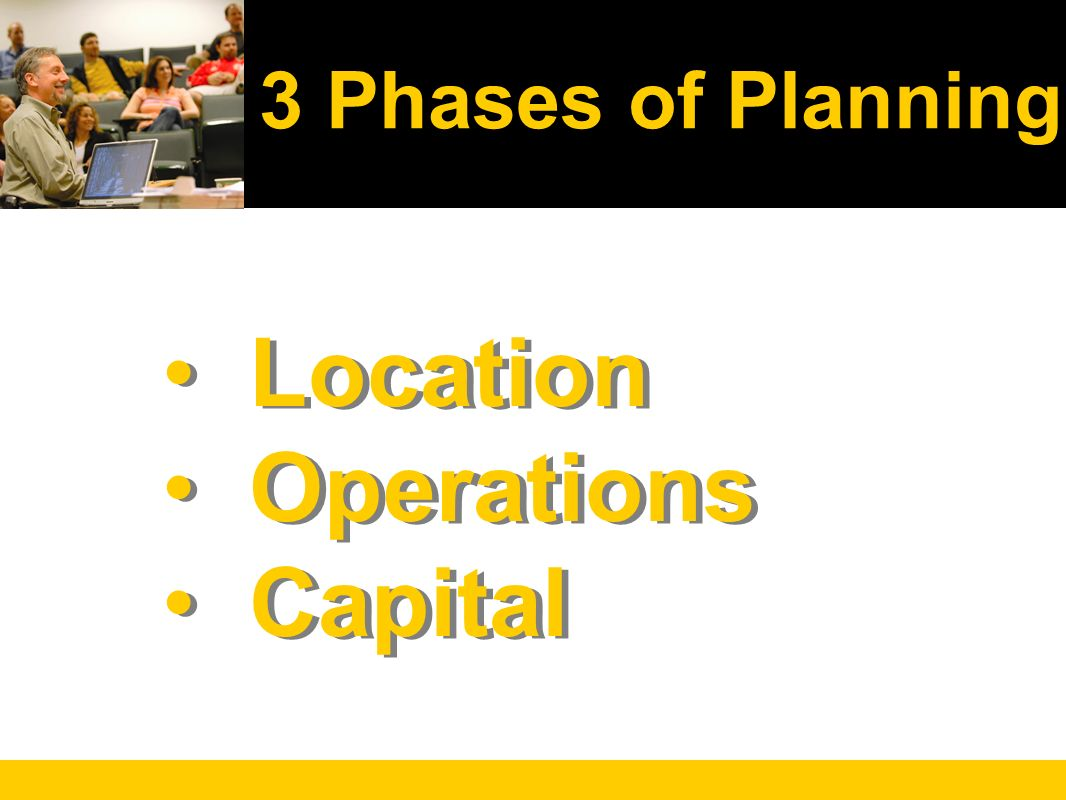 Location Operations Capital Location Operations Capital 3 Phases of Planning