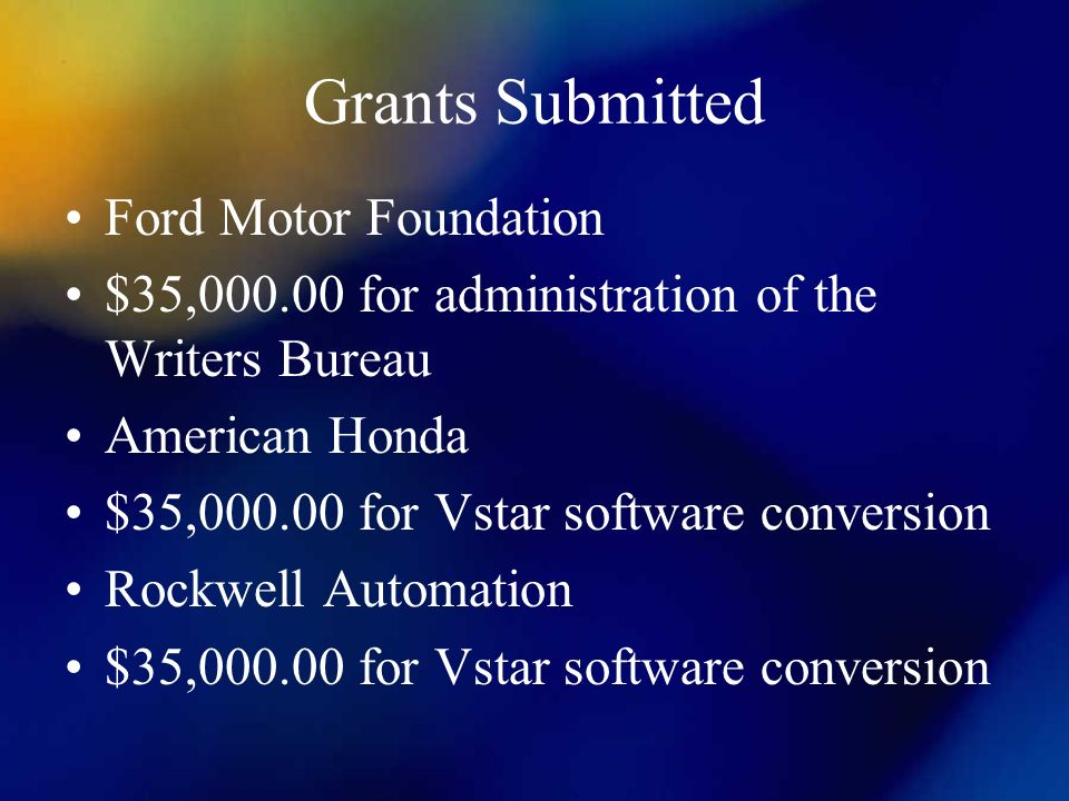 Grants Submitted Ford Motor Foundation $35,000.00 for administration of the Writers Bureau American Honda $35,000.00 for Vstar software conversion Rockwell Automation $35,000.00 for Vstar software conversion