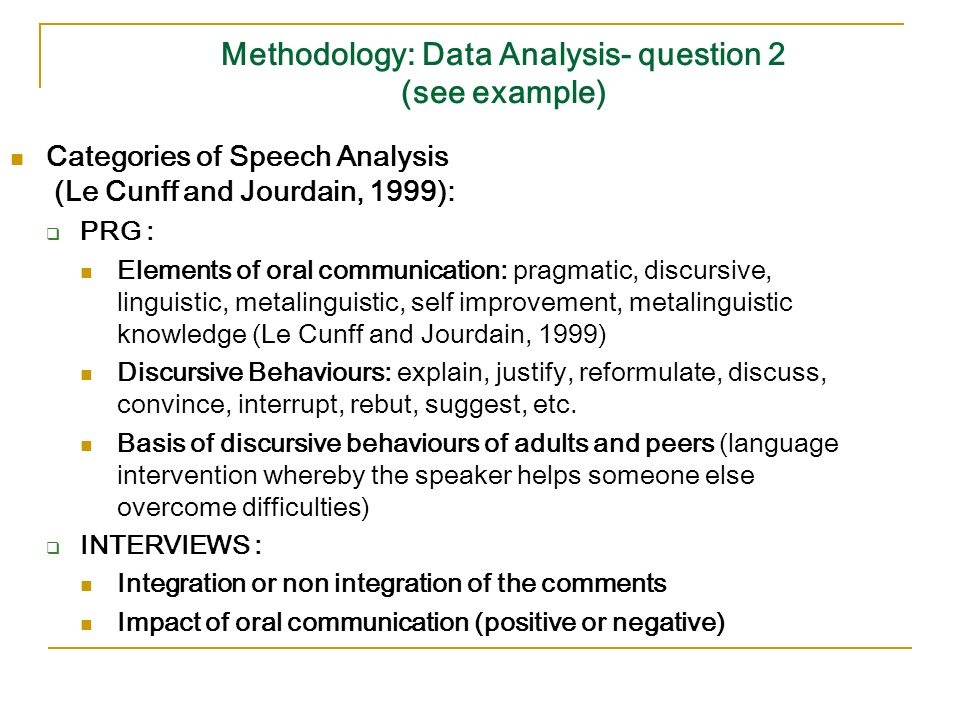 Methodology: Data Analysis- question 2 (see example) Categories of Speech Analysis (Le Cunff and Jourdain, 1999): PRG : Elements of oral communication: pragmatic, discursive, linguistic, metalinguistic, self improvement, metalinguistic knowledge (Le Cunff and Jourdain, 1999) Discursive Behaviours: explain, justify, reformulate, discuss, convince, interrupt, rebut, suggest, etc.
