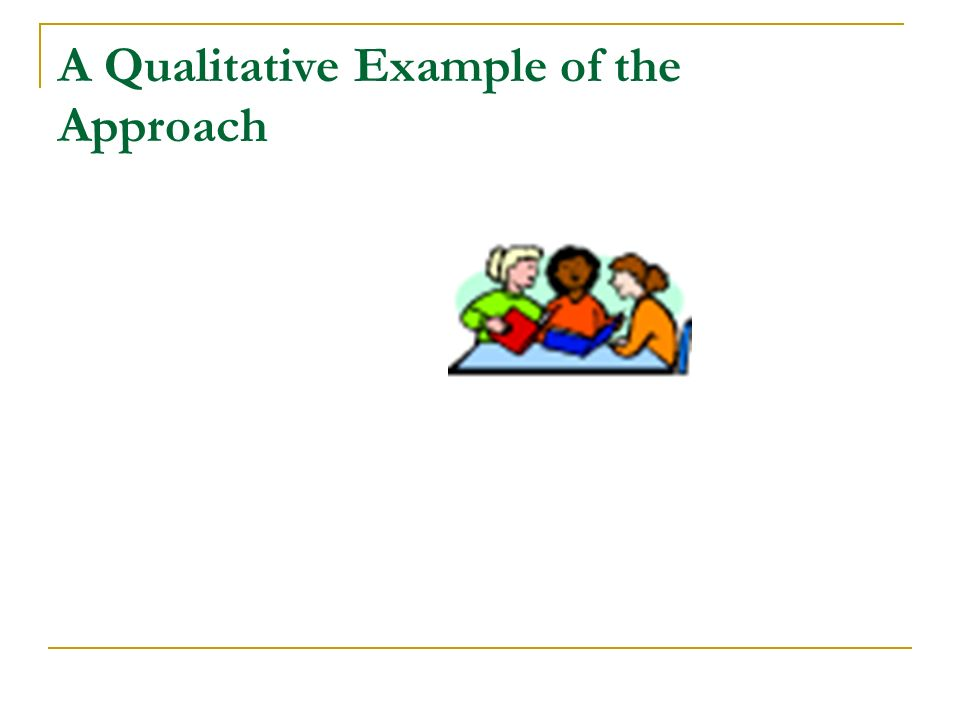 A Qualitative Example of the Approach