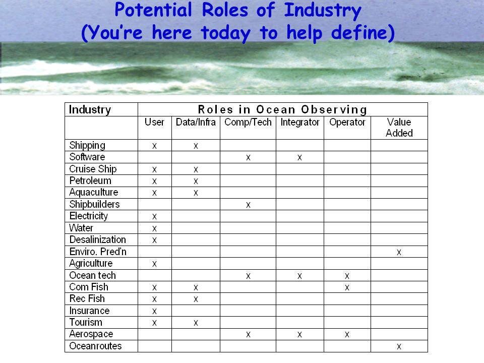 Potential Roles of Industry (Youre here today to help define)