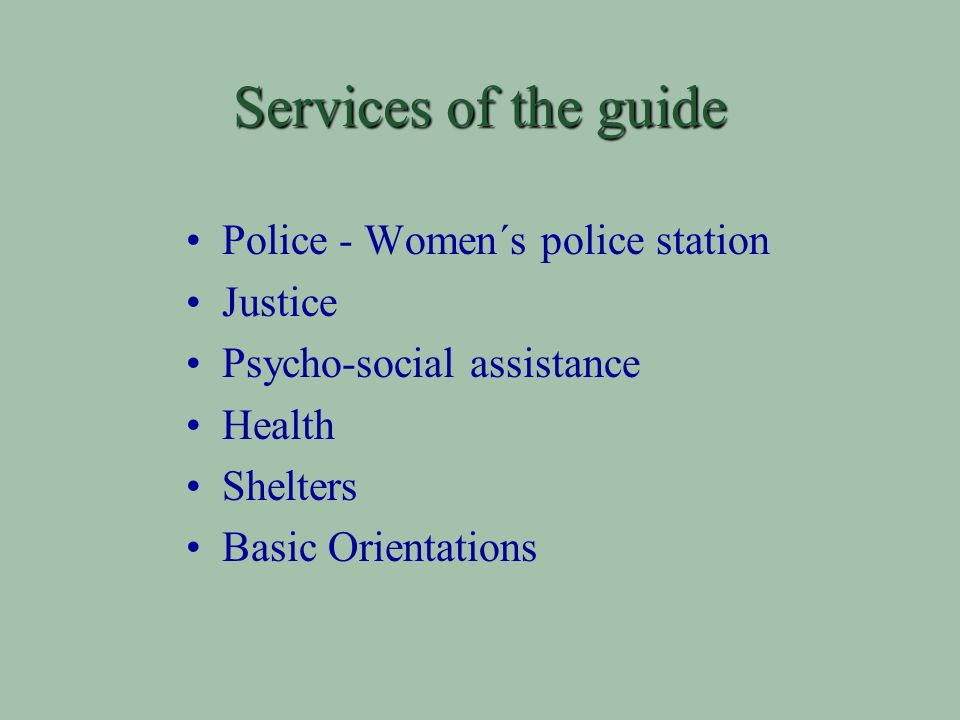 Services of the guide Police - Women´s police station Justice Psycho-social assistance Health Shelters Basic Orientations