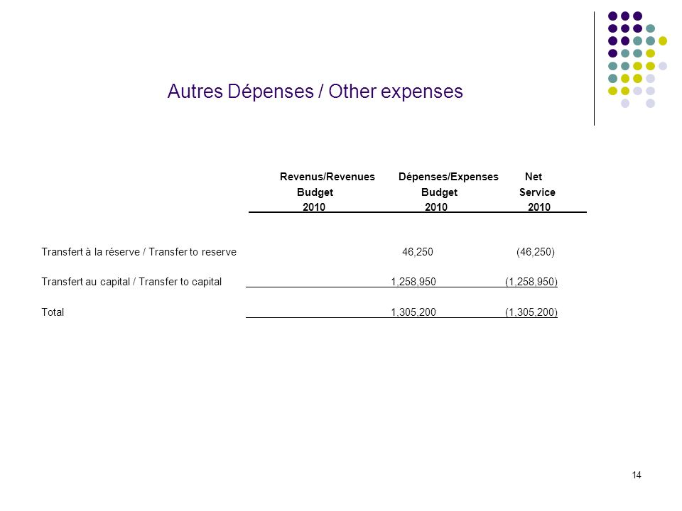 14 Autres Dépenses / Other expenses Revenus/Revenues Dépenses/Expenses Net Budget BudgetService Transfert à la réserve / Transfer to reserve 46,250 (46,250) Transfert au capital / Transfer to capital 1,258,950 (1,258,950) Total 1,305,200 (1,305,200)