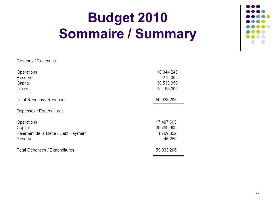 28 Budget 2010 Sommaire / Summary Revenus / Revenues Operations 10,044,245 Reserve 275,000 Capital 38,530,959 Taxes 10,183,002 Total Revenus / Revenues 59,033,206 Dépenses / Expenditures Operations 17,487,695 Capital 39,789,909 Paiement de la Dette / Debt Payment 1,709,352 Reserve 46,250 Total Dépenses / Expenditures 59,033,206