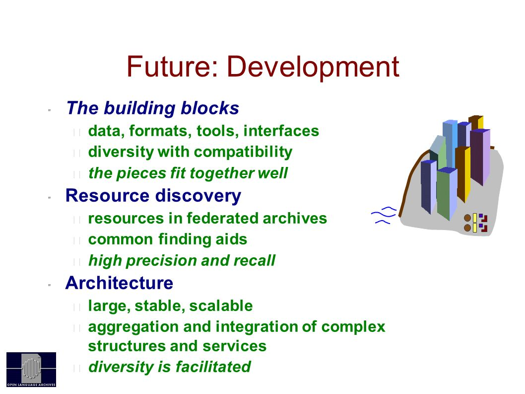 Future: Development OAI The building blocks data, formats, tools, interfaces diversity with compatibility the pieces fit together well Resource discovery resources in federated archives common finding aids high precision and recall Architecture large, stable, scalable aggregation and integration of complex structures and services diversity is facilitated