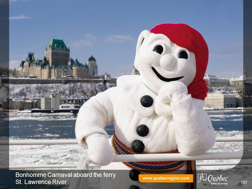 Bonhomme Carnaval aboard the ferry St. Lawrence River 107