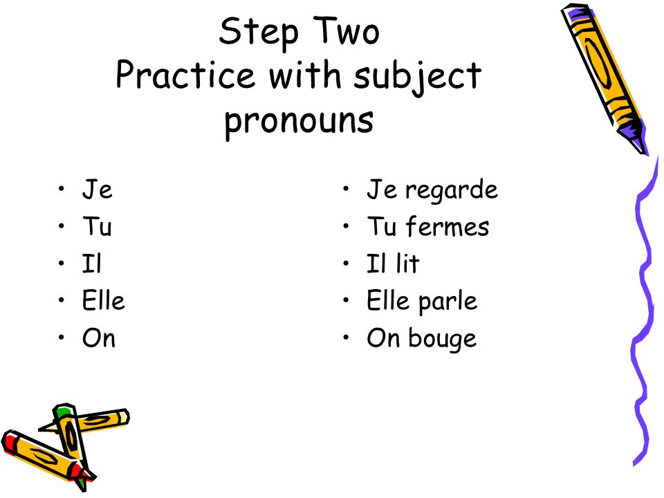 Step Two Practice with subject pronouns Je Tu Il Elle On Je regarde Tu fermes Il lit Elle parle On bouge