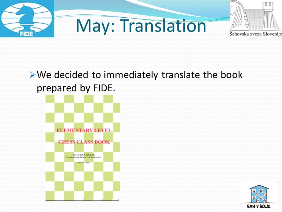 We decided to immediately translate the book prepared by FIDE. May: Translation